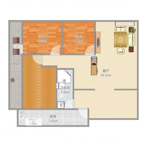碧云天2室1厅1卫1厨107.00㎡户型图