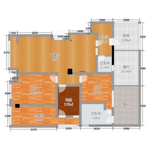 远大都市风景4室3厅2卫1厨166.00㎡户型图