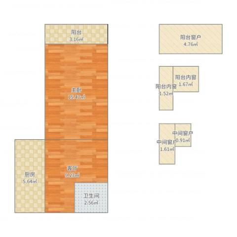 南三环中路15号院1室1厅1卫1厨58.00㎡户型图