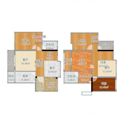 东江湾2室2厅2卫1厨169.81㎡户型图