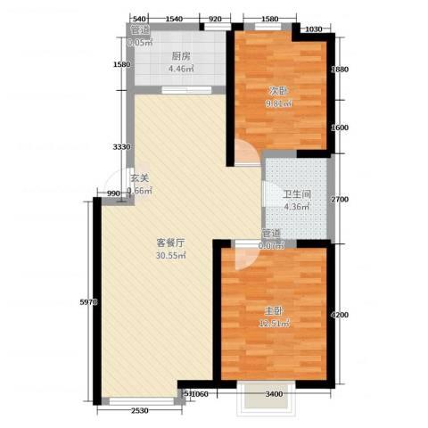 万行中心2室2厅1卫1厨110.00㎡户型图