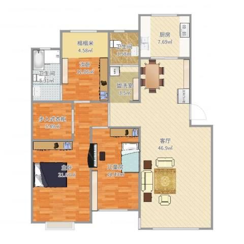 月潭爱丁堡3室1厅2卫1厨146.00㎡户型图