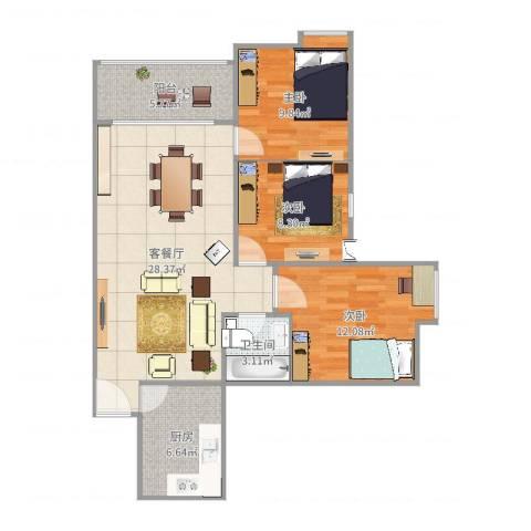 兴科明珠花园3室2厅1卫1厨93.00㎡户型图