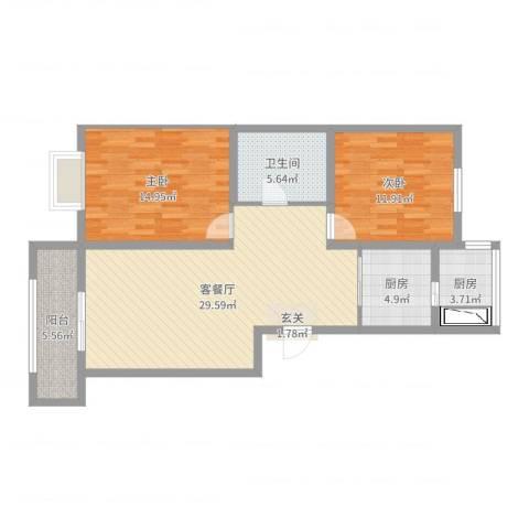 侯台碧水家园2室2厅1卫2厨95.00㎡户型图