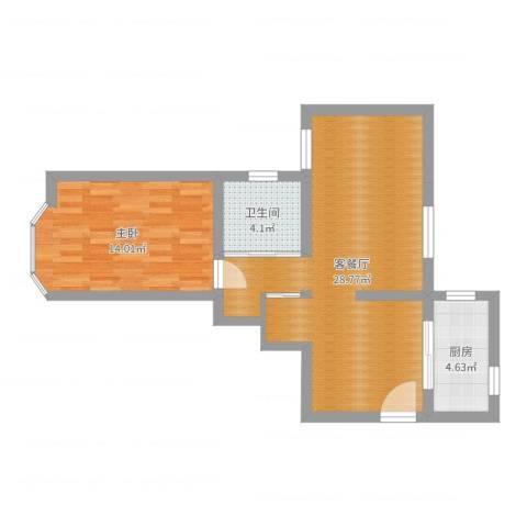 临沂大楼1室2厅1卫1厨64.00㎡户型图