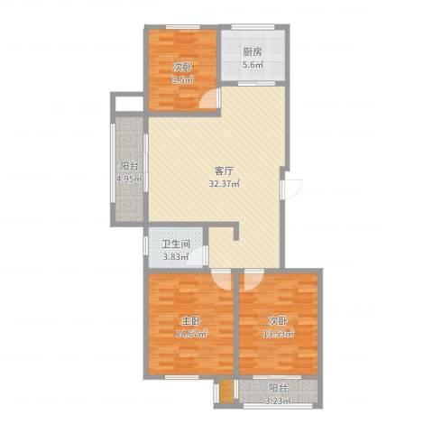东方名城好旺角3室1厅1卫1厨110.00㎡户型图