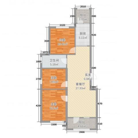 益丰乾城3室2厅1卫1厨95.00㎡户型图