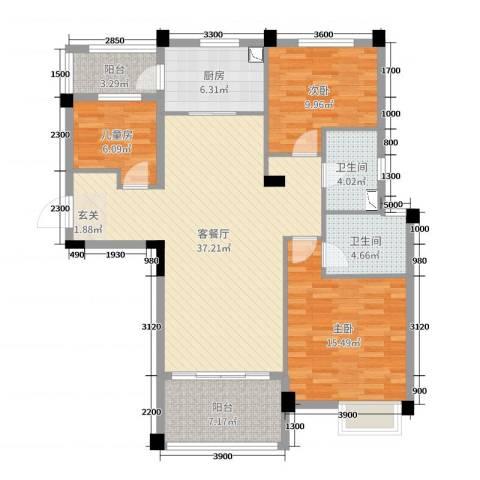 洛阳碧桂园3室2厅2卫1厨94.21㎡户型图