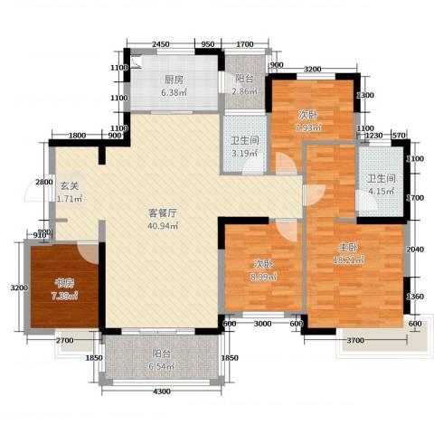 洛阳碧桂园4室2厅2卫1厨146.00㎡户型图