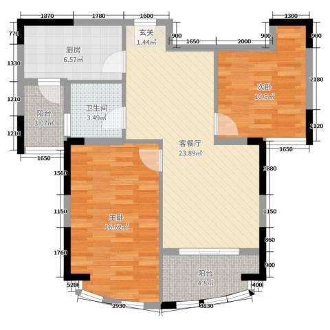 春龙金色海岸2室2厅1卫1厨89.00㎡户型图