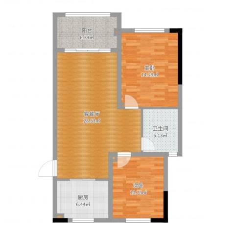 长宇棕榈湾2室2厅1卫1厨89.00㎡户型图