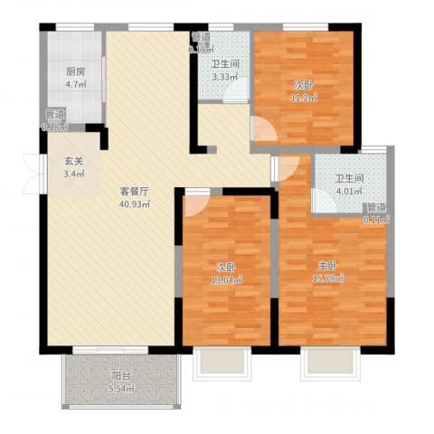 宏润花园3室2厅2卫1厨124.00㎡户型图