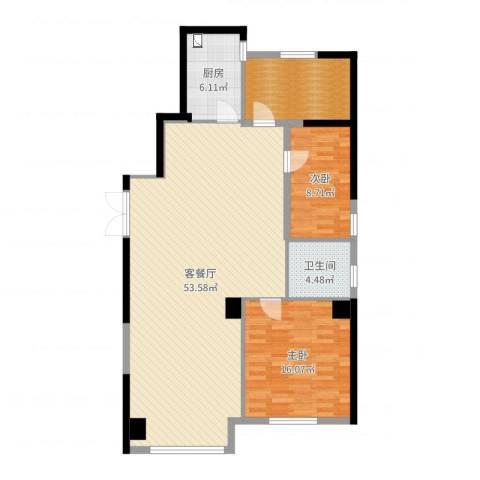 马德里皇家水岸2室2厅1卫1厨122.00㎡户型图