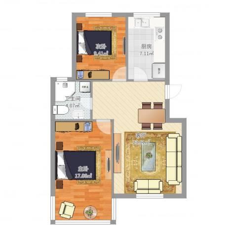 薛家新家园2室1厅1卫1厨77.00㎡户型图