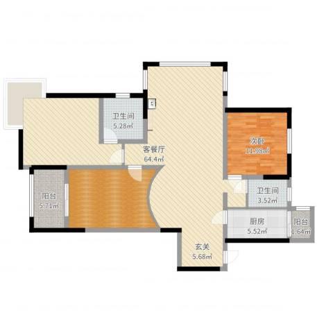 太仓凯盛河滨花园1室2厅2卫1厨142.00㎡户型图