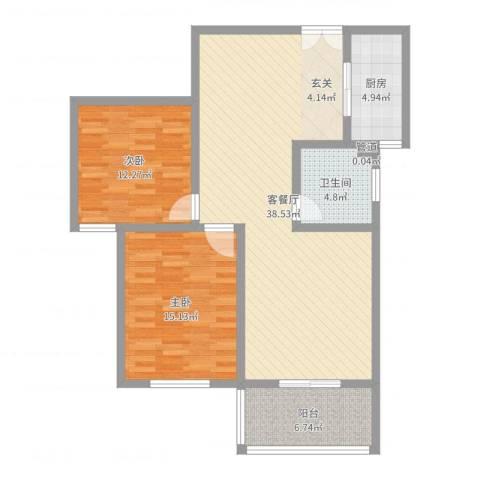 楚河花园2室2厅1卫1厨103.00㎡户型图