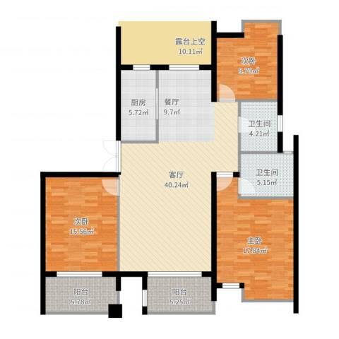 上东领地3室1厅2卫1厨137.00㎡户型图