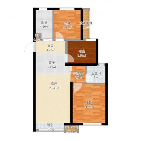 绿地香树花城3室1厅1卫1厨80.00㎡户型图