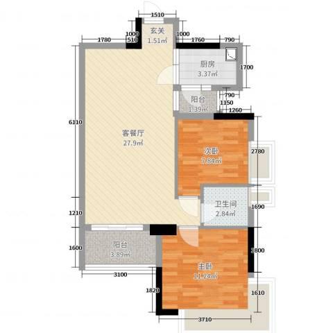 新世纪广场2室2厅1卫1厨79.00㎡户型图