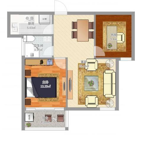 金桥水岸花园2室1厅1卫1厨59.51㎡户型图