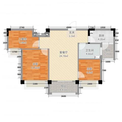 洛阳碧桂园3室2厅1卫1厨88.00㎡户型图