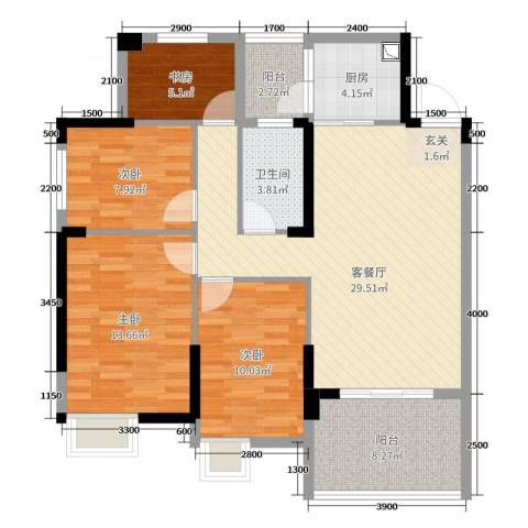 清泉城市广场4室2厅1卫1厨94.00㎡户型图