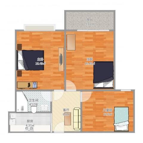 特房美地雅登3室1厅1卫1厨82.00㎡户型图