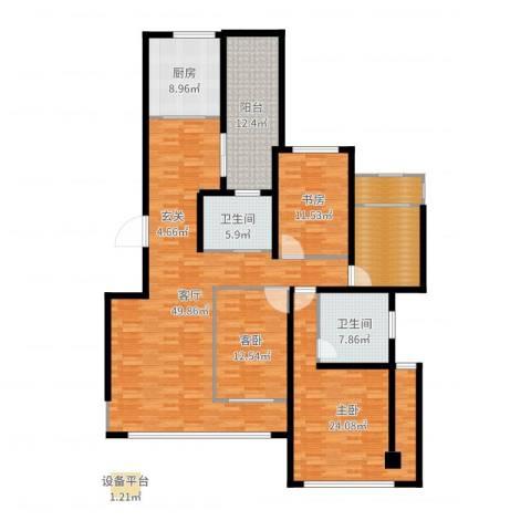 香江帝景3室1厅2卫1厨181.00㎡户型图