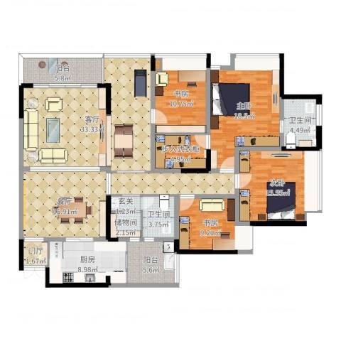 吉安园2期A户型4室2厅2卫1厨187.00㎡户型图