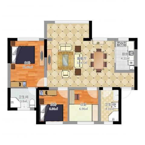 中航城3室2厅2卫1厨87.00㎡户型图
