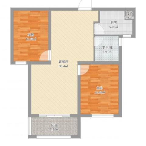 月城熙庭2室2厅1卫1厨69.46㎡户型图