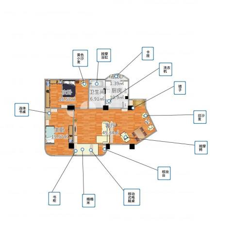金浦花园22室1厅1卫1厨132.00㎡户型图