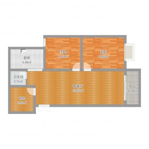博士苑(林师傅)3室2厅1卫1厨98.00㎡户型图