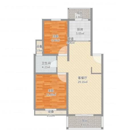 嘉秀坊2室2厅1卫1厨88.00㎡户型图