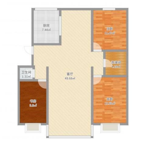 首府洋房3室1厅1卫2厨122.00㎡户型图