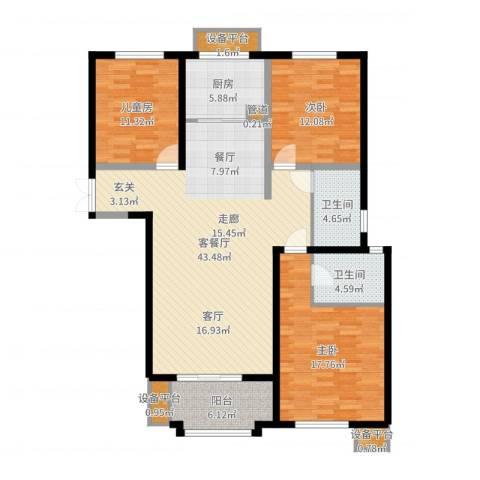 东方米兰国际城3室2厅2卫1厨137.00㎡户型图