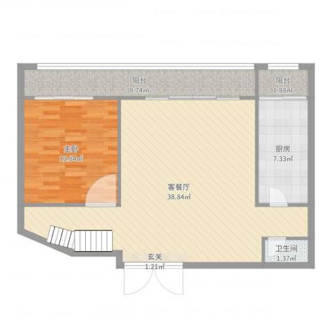 罗马假日1室2厅1卫1厨90.00㎡户型图