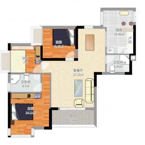 皇冠国际天幕3室2厅2卫1厨101.00㎡户型图