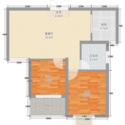 港利・锦绣江南2室2厅1卫1厨84.00㎡户型图