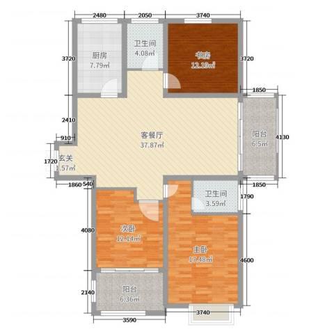 同科・汇丰国际3室2厅2卫1厨135.00㎡户型图
