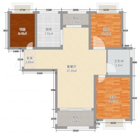 同科・汇丰国际3室2厅1卫1厨116.00㎡户型图