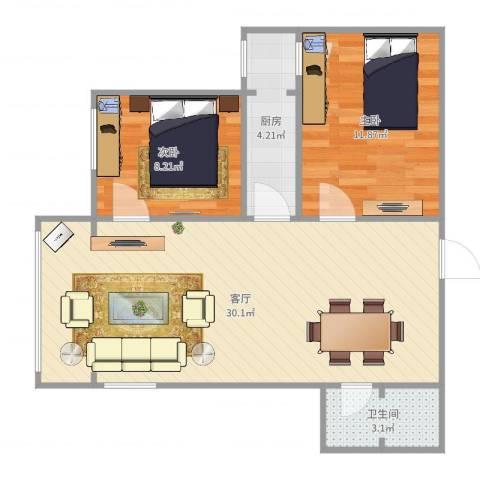 玉海园三里2室1厅1卫1厨72.00㎡户型图