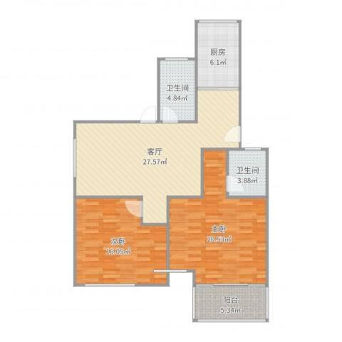 天悦花园2室1厅2卫1厨105.00㎡户型图