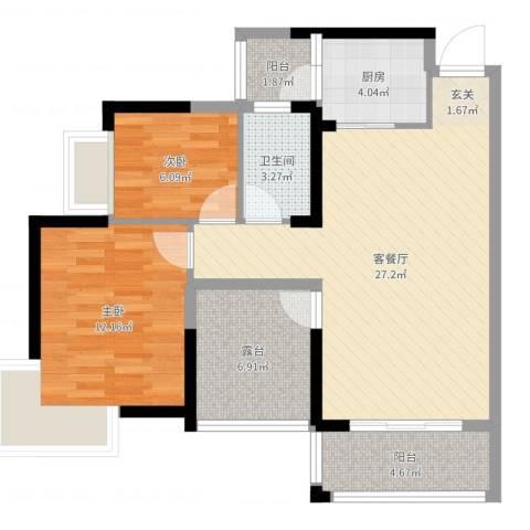 田禾卢浮公馆2室2厅1卫1厨83.00㎡户型图
