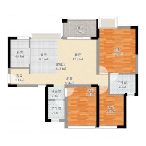 万科金悦香树3室2厅2卫1厨97.00㎡户型图