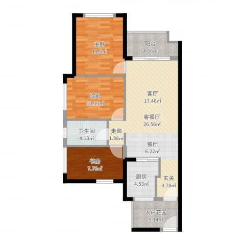 万科金悦香树3室2厅1卫1厨93.00㎡户型图