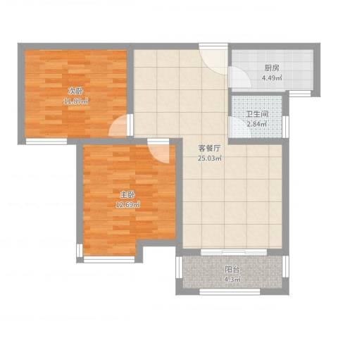 冠捷・观邸2室2厅1卫1厨77.00㎡户型图