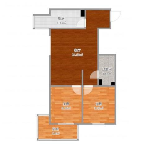 金世纪嘉园2室1厅1卫1厨73.00㎡户型图