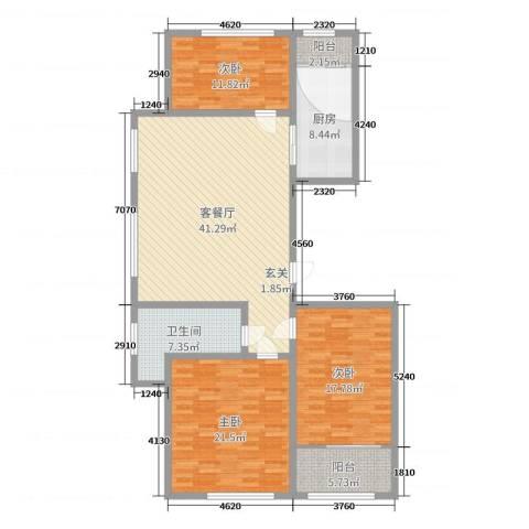 金岭壹品3室2厅1卫1厨150.00㎡户型图
