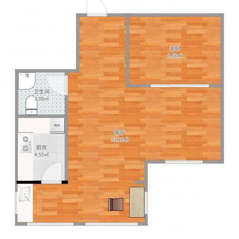 南郡二期丽郡1室1厅1卫1厨63.00㎡户型图